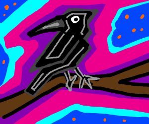 Abstract crow sits on a branch