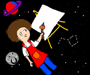 Bob Ross painting in space