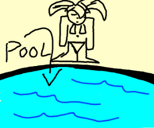 Girl with no neck at a pool