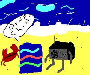 a beach towel tells sentient radio to chill
