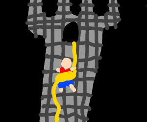 Man tangled in rope