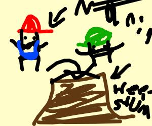 mario brother fall through tree stump