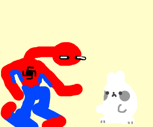 Spideerman meets a rabbit