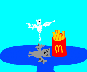bat dies by mcdonalds french fries' side