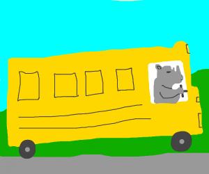 A rhyno driving a school bus