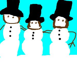 Abraham Lincoln snowmen