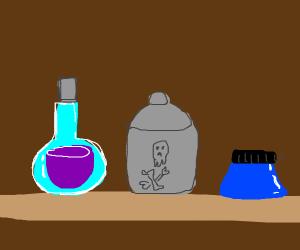 potions on a shelf