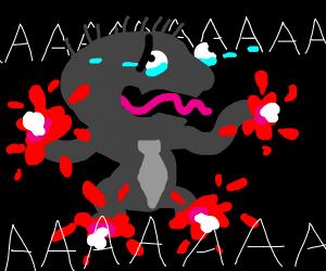 Man with bleeding limbs