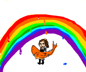 Guy holding fish in front of melting rainbow