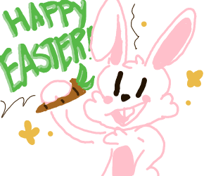 bunny w/ carrot saying 'happy easter!'