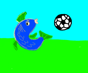 fish playing soccer