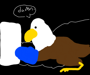 Eagle burns his food
