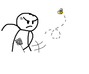 man tries to flyswat a bee