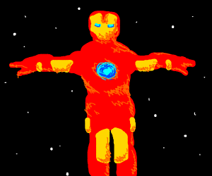 Ironman T-posing stranded in space