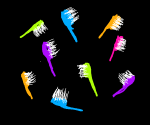 Colorful toothbrushes floating in void