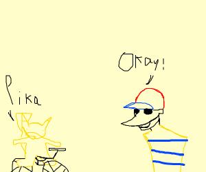 Plague doctor Ness interrogates biker Pikachu