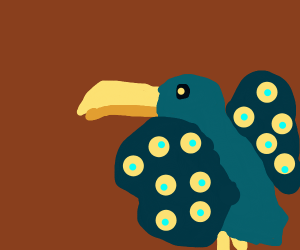 Toucan with dark butterfly wings