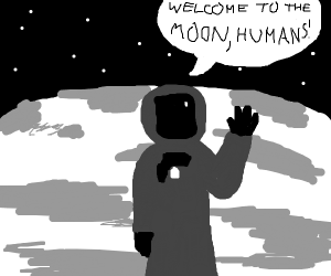 Astronaut welcomes humans to the moon