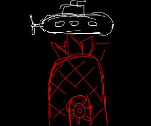 submarine over sponge bobs house.