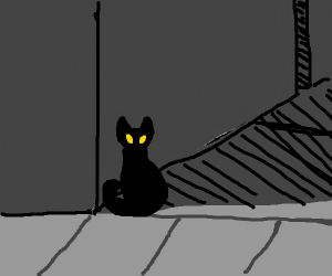 Creepy black cat in the shadows