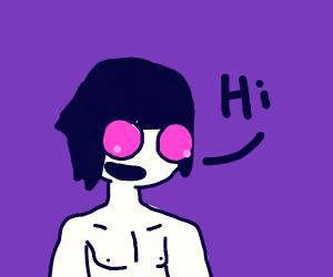 Pink eyed dude talking