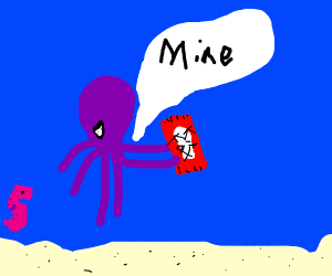 Octopus protects the KitKat treasure