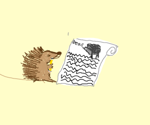 Porcupine writing a letter to Piano