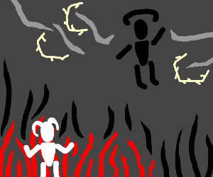Fire demon fights thunder angel