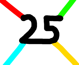 a black 25 and 4 coloured beams