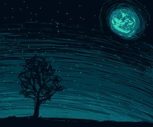 Tree under full moon, drawn only in turquoise