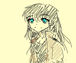 kawaii anime girl in beige jacket