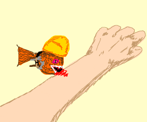 a construction worker fish eating human flesh