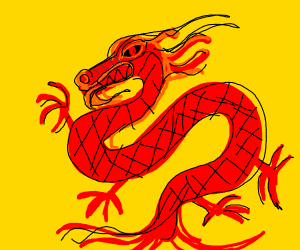 A red and black Chinese dragon