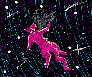 pink cat on drugs floats in space