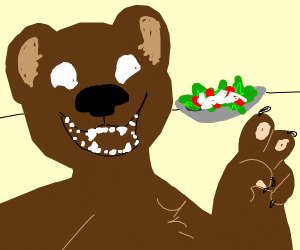 A bear takes a selfie with a salad