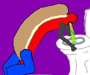 Hotdog weenie puking