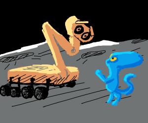Orange robot meets alien friend on the moon