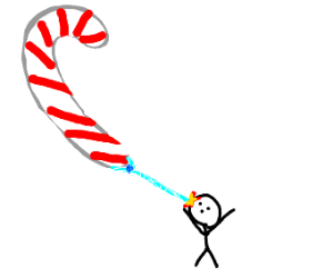 The Almighty Candy Cane smites a lowly human