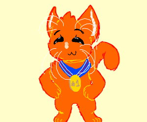 Cat with a medal