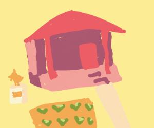Farm with chicken statue