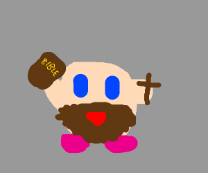 Kirby ate Jesus and is now a Christian