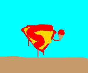 superman logo eating green ice cream