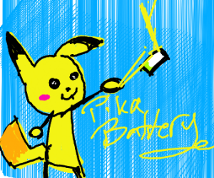 Pikachu throwing a battery