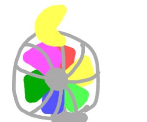 Pac-Man on a rainbow fan