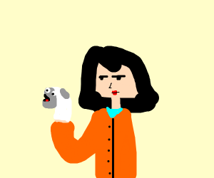 Lady in orange coat with puppet