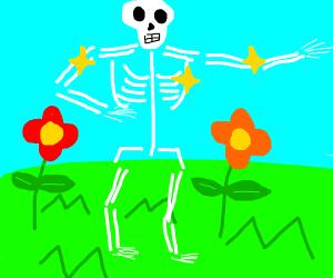 Shiny skeleton in flower field