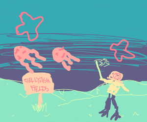 A diver is going jellyfishing
