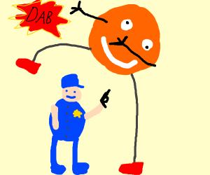 Orangeman oversteps officer