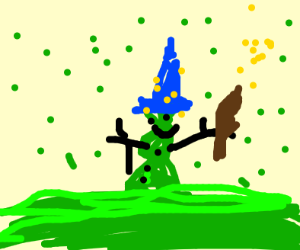 Green wizard snowman