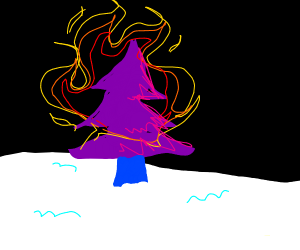 Purple Christmas trees on fire